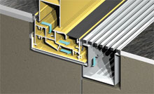 The sill can be recessed into floor finish and fitted with stainless steel Creative Drain drainage system.