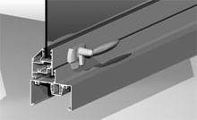 Awning sash inlay can be operated with cam handles, chain winders and concealed electric motors.