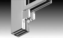 Custom heavy duty aluminium spigot and backing plate for tight joints between stiles and rails.