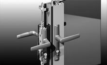 The dummy lock (keeper stile lock) can be operated from inside, turning the handle will retract the shoot bolts top and bottom.