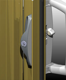 The outer pull is powder coated over stainless steel for improved security and longevity.<br>