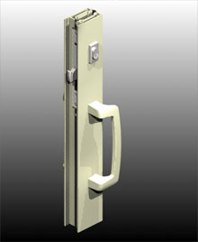 ANDO™ pulls available in 316 grade stainless steel or powder coat over stainless steel. Designed for use with commercial sliding door locks.
